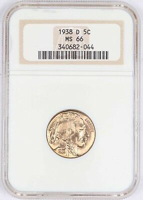 1938-D Buffalo Nickel 5C NGC MS66