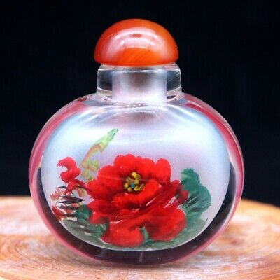 China Exquisite Handmade Inside painting Peony flower Glass snuff bottle