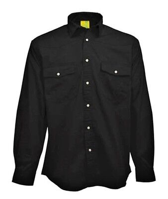 SHIRT Mens Longsleeve Mans Pre-Washed 100% Brushed Cotton Twill Black AU