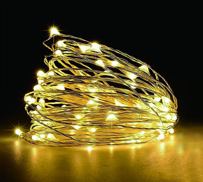 65.6ft LED Copper String 200-Light Warm White Remote Control Waterproof NEW US