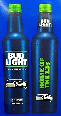 TWO SEATTLE SEAHAWKS 12th MAN LIMITED BUD LIGHT BEER Empty Team cans NFL 2017