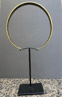 Tribal brass or bronze necklace/ choker on metal display stand