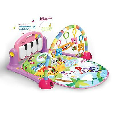 4 in 1 Fitness Baby Gym Play Mat Lay Play Music And Lights Fun Piano Pink Girls