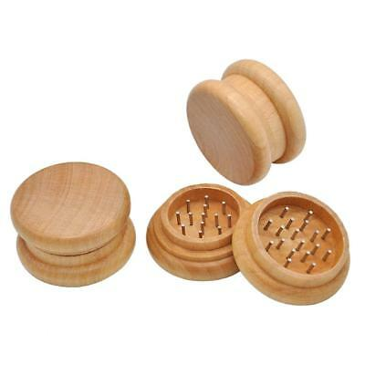 2-layer Grinder NATURAL Wooden Tobacco Spice Herb Grinder Wood for Smoking