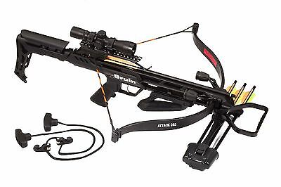 Bruin Attack 265 Recurve Crossbow Package w/ Scope, Bolts, Quiver, Cocking Rope