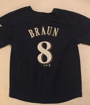 MLB Majestic Milwaukee Brewers Youth Jersey # 8 Ryan Braun Size 10/12