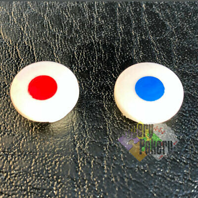 Hot & Cold Tap Indices Red & Blue Hand Finished Inserts Bath Tap Tops  1 pair