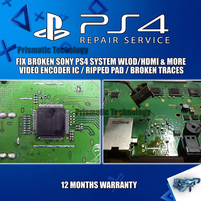 BROKEN SONY PS4/PRO System WLOD/HDMI Ripped Pads/Video