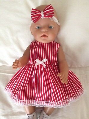 """Doll Clothes to fit 17"""" Baby Born doll ~ Dress & hband  ~ Red / White Stripes"""