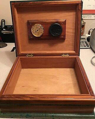Vintage Humidor - Wood with Green Trim Accents - EPIC only Name Badge Visible