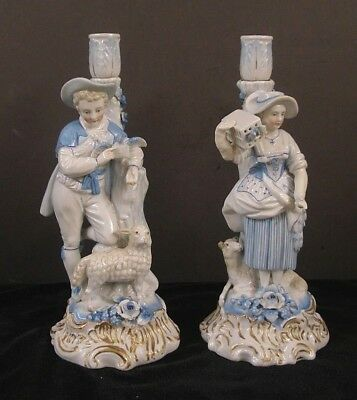 PAIR OF GERMAN PORCELAIN CANDLESTICKS~  early to mid 19TH CENTURY