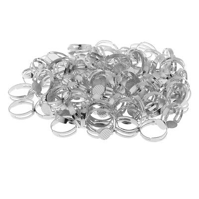100x Adjustable Ring Blanks Pad Bezel Base Settings Jewelry Findings Silver