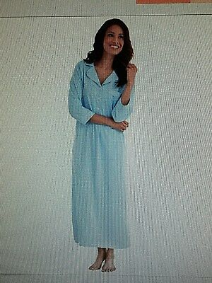 PajamaGram Oh-So-Soft Long Nightgown Womens, 3/4-Sleeved, Large, 100%Cotton BLUE