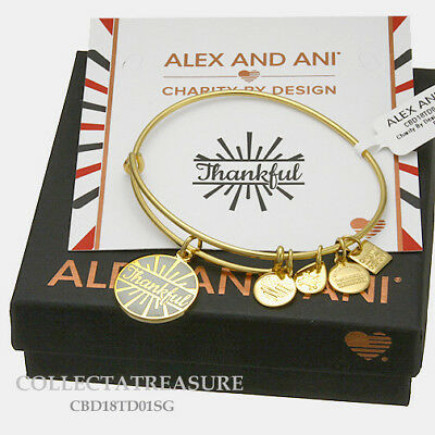 Authentic Alex and Ani Let/'s Toast Yellow Gold Expandable Charm Bangle