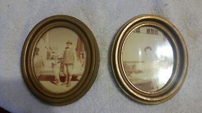 SALE!!! Antique Vintage Mid Century  Matched Pair Wooden Gold Gesso Oval Frames