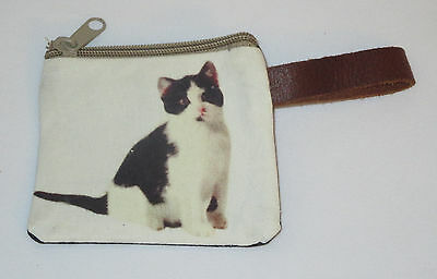 """Black White Cat Coin Purse Leather Strap New Zippered 4"""" Long Cats Pets Kitten"""
