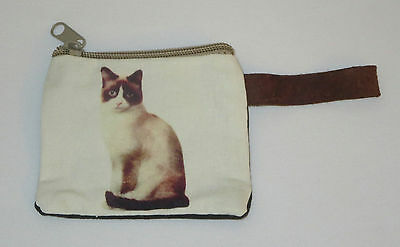 """Cat Coin Purse Leather Strap New Zippered 4"""" Long Calico Cats Pets"""