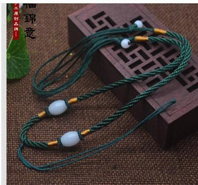 5Pcs Natural JADE beads Green Circle string cord rope for pendant Necklace A203