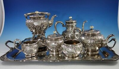 Scroll by Durgin Sterling Silver Coffee Tea Set 7pc with Kettle on Stand (#2971)