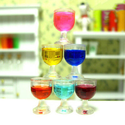 1/12 Dollhouse Miniature Clear Wine Glass Cups Set Tableware Accessory 6Pcs/Set
