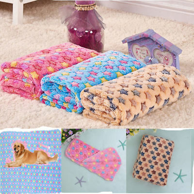 Pet Mat Paw Print Cat Dog Puppy Fleece Winter Warm Soft Blanket Bed Cushion Pad