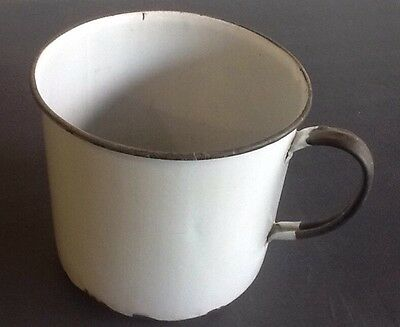 Antique Original Vintage Enamelware Metal MUG Cup Tin Country Kitchen Over-Sized