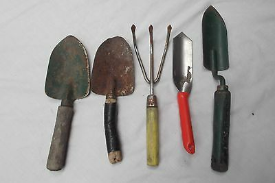 lot of 5 rustic primitive style vtg rusted garden hand tools trowel cultivator