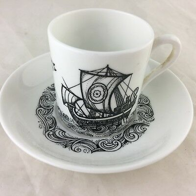 Antique Cup Saucer Set Royal Grafton Viking Ship White Black Demitasse England