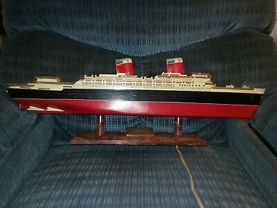 Very Rare Ideal SS. United States 1950s Light Up Model Ship  With Box