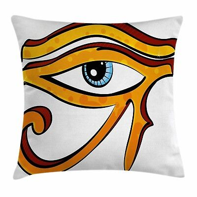 Open Eye Pillow Case Ancient Egyptian Square Throw Cover Horus God Symbol 24 in
