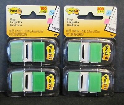 "New Sealed 3M Post-It 680-GN2 Green 1"" x 1.7"" Flags,  packs of 100 = 200 Flags"