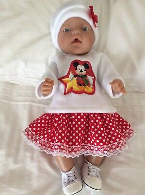 "Doll Clothes to fit 17"" Baby Born doll ~ 3 Piece Set. Micky Mouse White Red Spo"