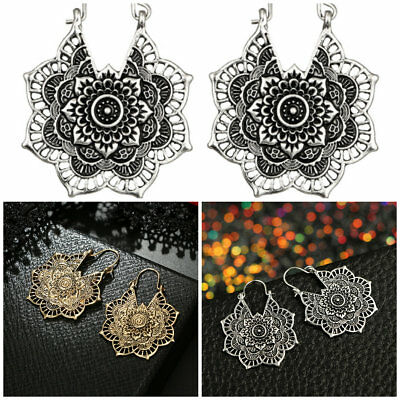 Gold Silver Plated Boho Statement Charm Big Hollow Lotus Drop Dangle Earrings