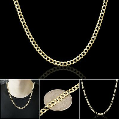"""10K Real Yellow Gold Cuban Curb Link Chain Necklace 2MM Mens Women's 16"""" - 24"""""""