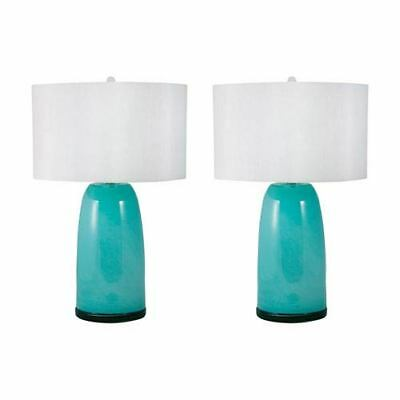 Dimond Set of 2 Blue Table Lamps with Round Hardback White Fabric Shade
