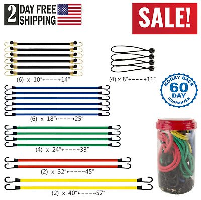 Bungee Cords Straps Rope With Hooks Ties Mini Tie Down Cargo Canopy Set Kit