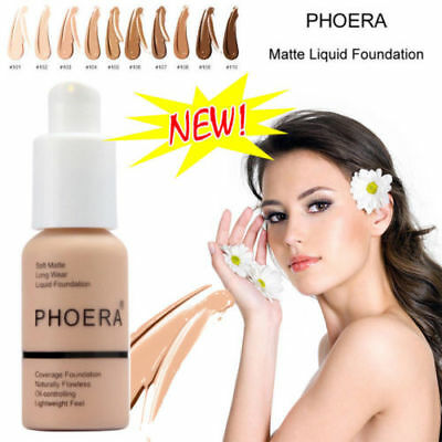 PHOERA Liquid Foundation  Matte Naturally Full Coverage Concealer Repair Beatuy