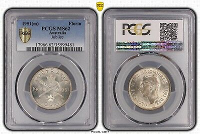 1951 MS62 Australia Florin 2/- Sceptre and Sword PCGS GRADED UNC