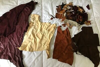 Lot of Leather and suede scraps, assorted colors and weights, 1 lb.