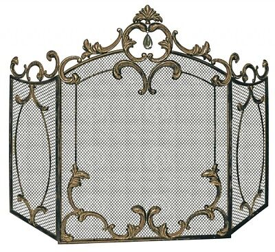 Ornate Antique Style Bronze Crystal Iron Fireplace Folding Screen Fire Guard