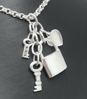 "STERLING SILVER Heart Padlock Keys Necklace 16"" + Attachments Hallmark 19.6g"