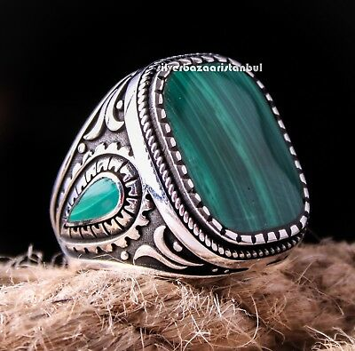 Lux Emerald Stone Turkish Jewelry Handmade 925 Sterling Silver Men Ring ALL SİZE
