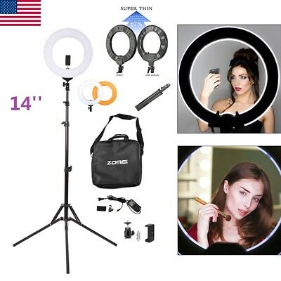 "Zomei 14"" LED Ring Light Photography Dimmable + Stand for Camera Makeup Live US"