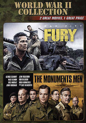 World War II Collection: Fury/Monuments Men (DVD, 2015, 2-Disc Set) NEW