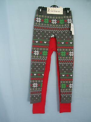 Nwt One Step Up L/Xl Girls 2 Pack Christmas Holiday Knit Leggings $32