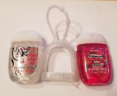 Bath & Body Works  2 x Hand Sanitizer Anti-Bac Gel & Holder Mermaid Unicorn NEW