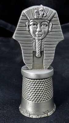 Vintage Pewter King Tut Thimble Signed Fort USA Collectible Sewing Rare