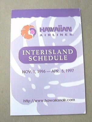 11-01-1996 to 04-05-1997 Hawaiian Airlines Inter-island Flight Schedule