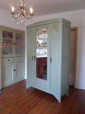 Knockdown Painted French Art Deco Armoire Wardrobe Linen Cupboard