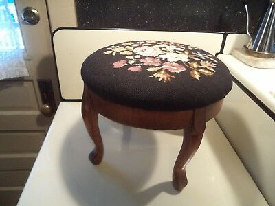 Antique Foot Stool Round w/ Floral Needlepoint Ex. Condition Narragansett Pier